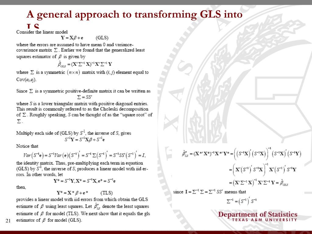 A general approach to transforming GLS into LS