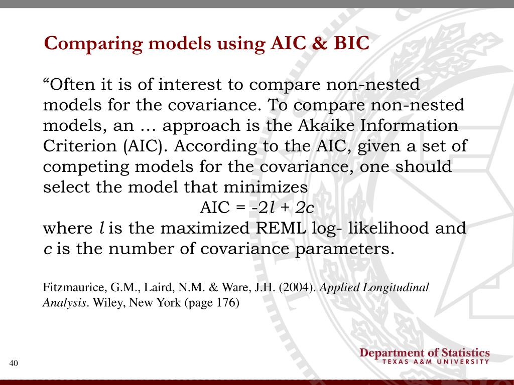 Comparing models using AIC & BIC