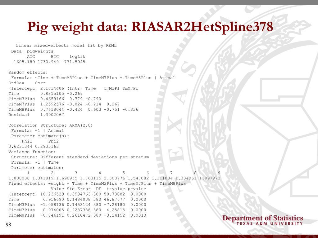 Pig weight data: RIASAR2HetSpline378
