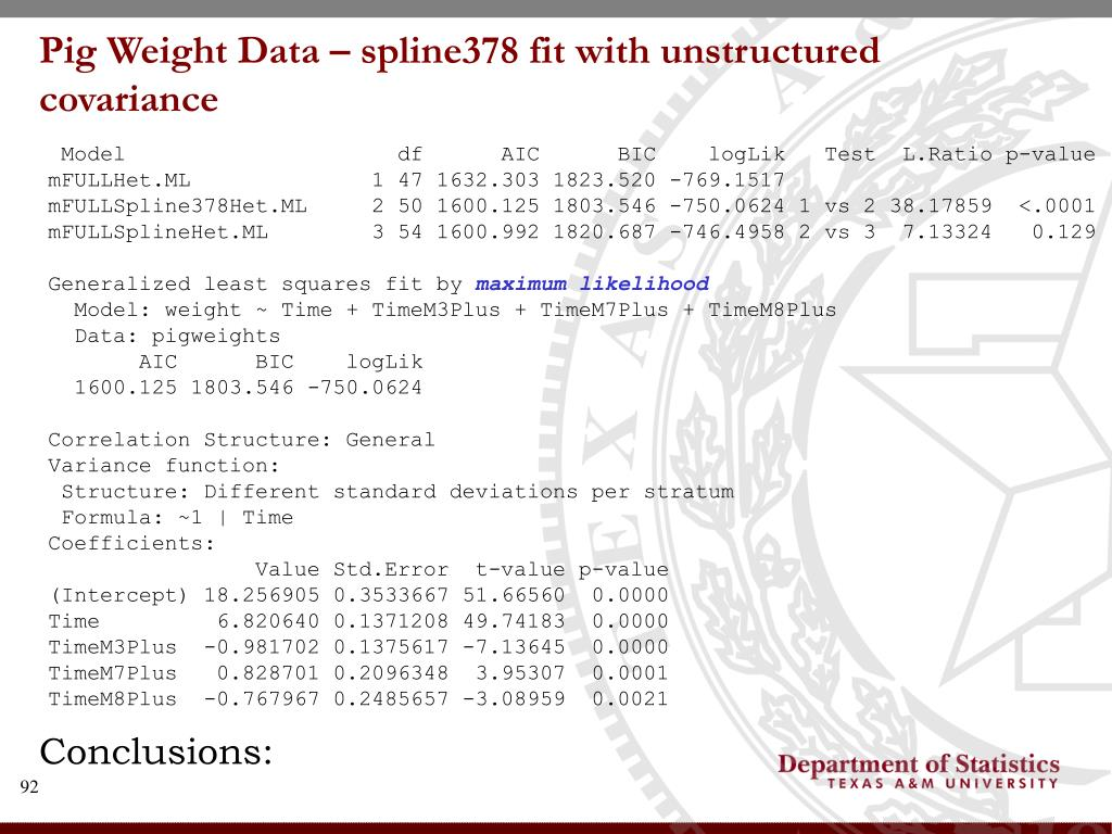 Pig Weight Data – spline378 fit with unstructured covariance