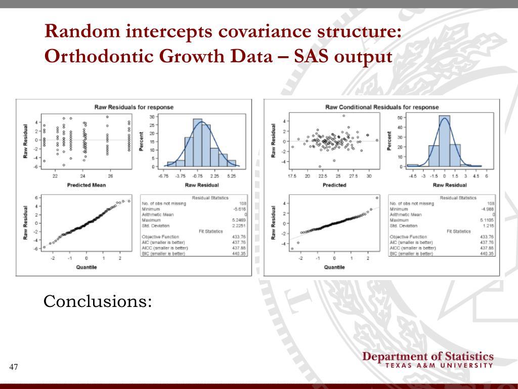 Random intercepts covariance structure: Orthodontic Growth Data – SAS output