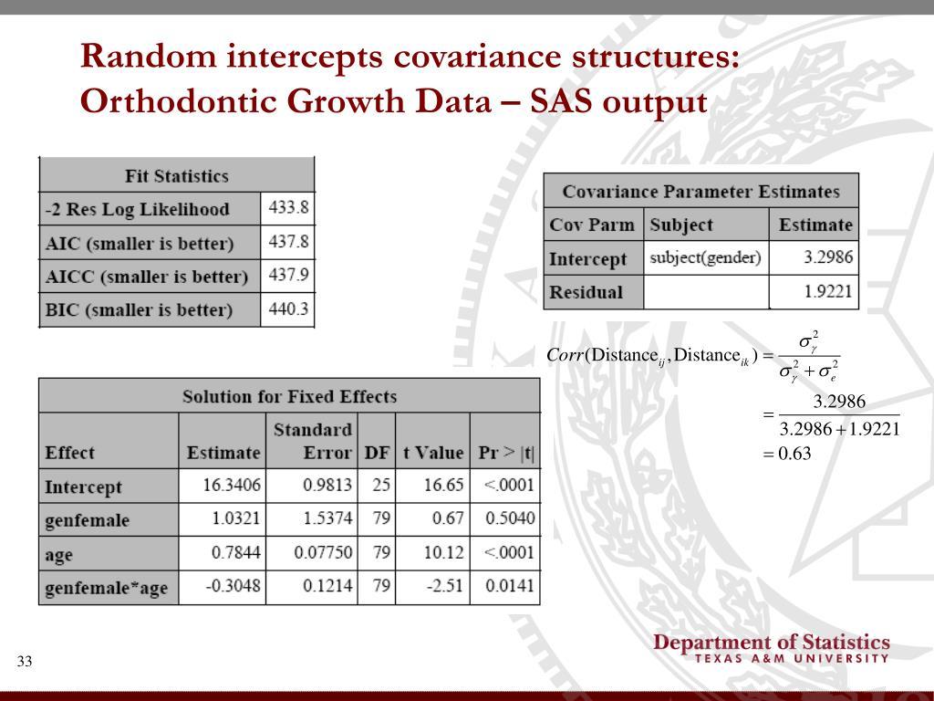 Random intercepts covariance structures: Orthodontic Growth Data – SAS output