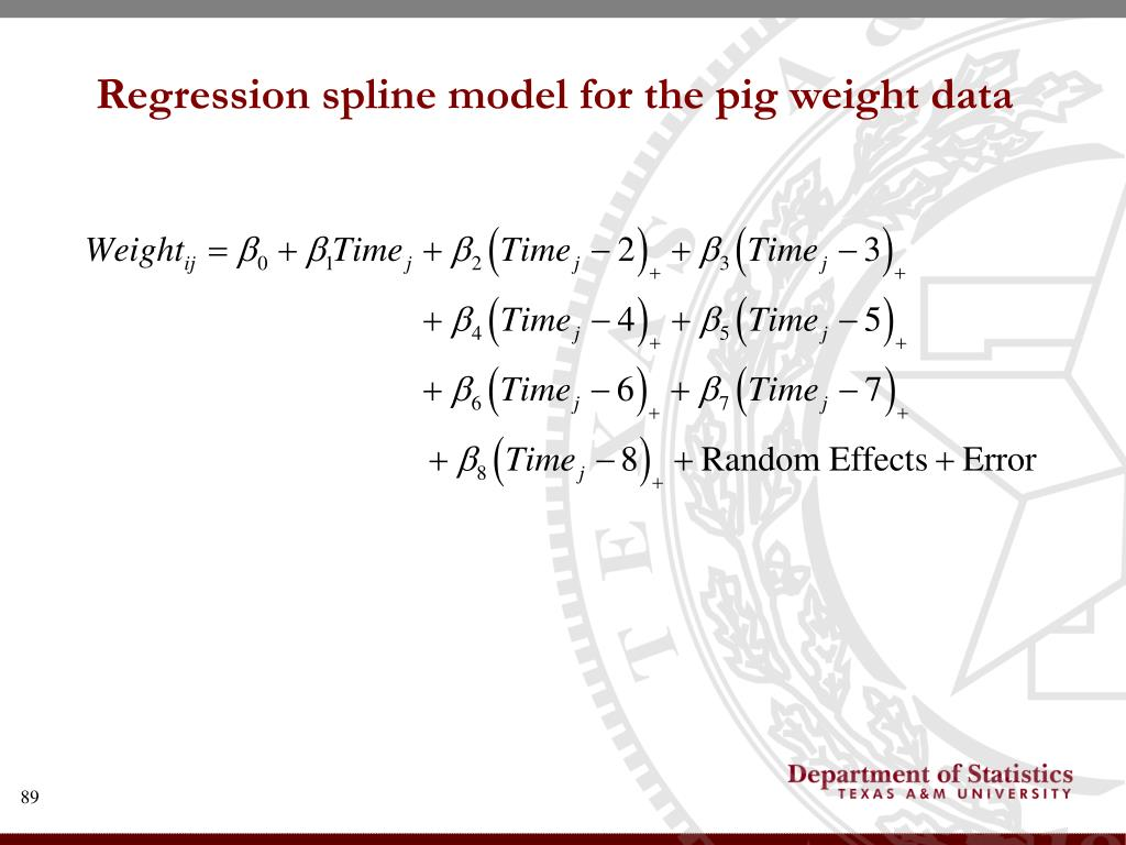 Regression spline model for the pig weight data