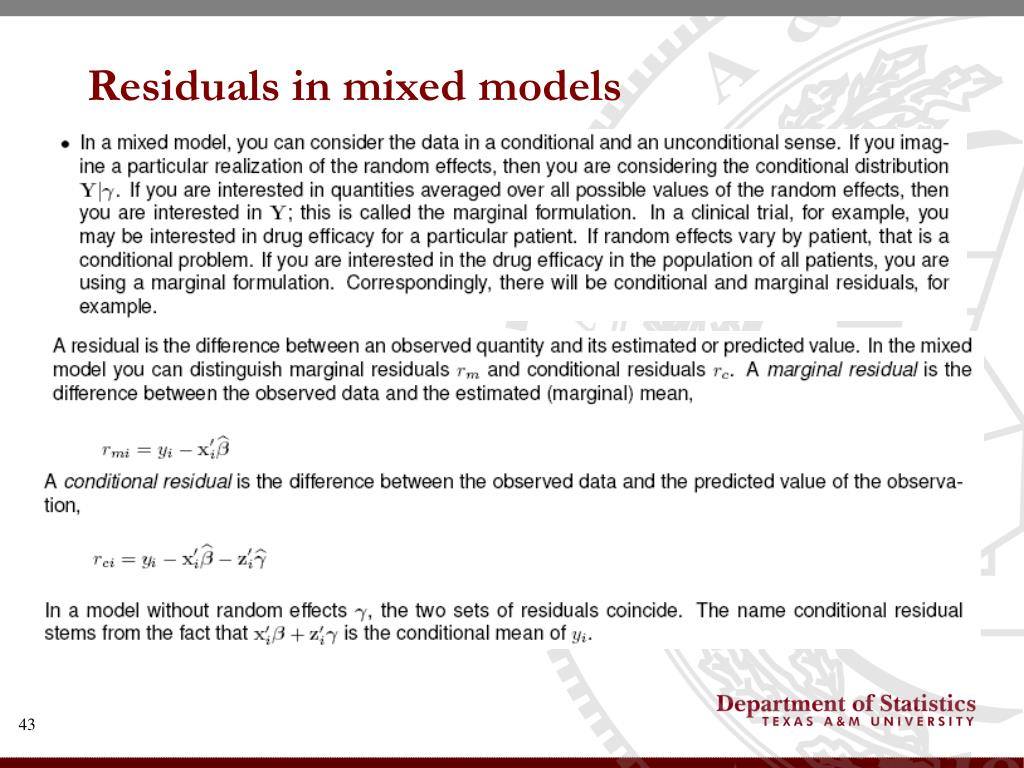 Residuals in mixed models