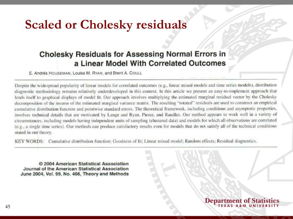 Scaled or Cholesky residuals