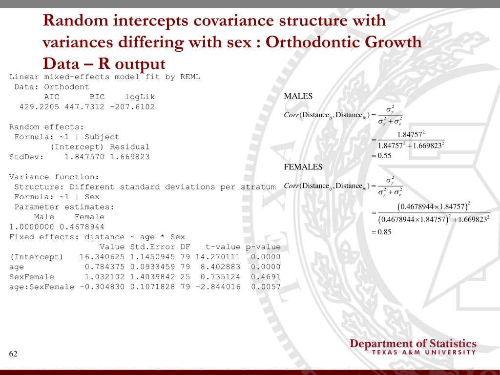 Random intercepts covariance structure with variances differing with sex : Orthodontic Growth Data – R output