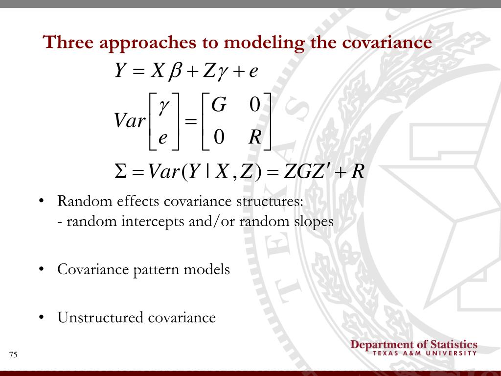 Three approaches to modeling the covariance