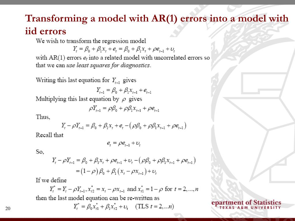 Transforming a model with AR(1) errors into a model with iid errors