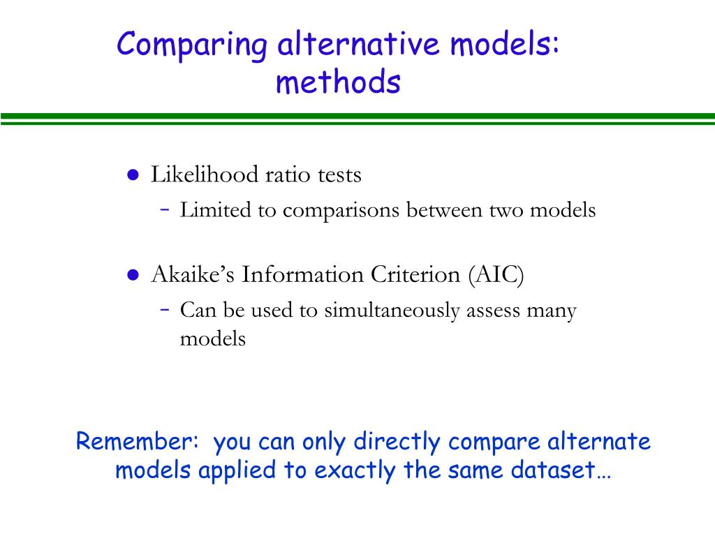 Comparing alternative models: methods