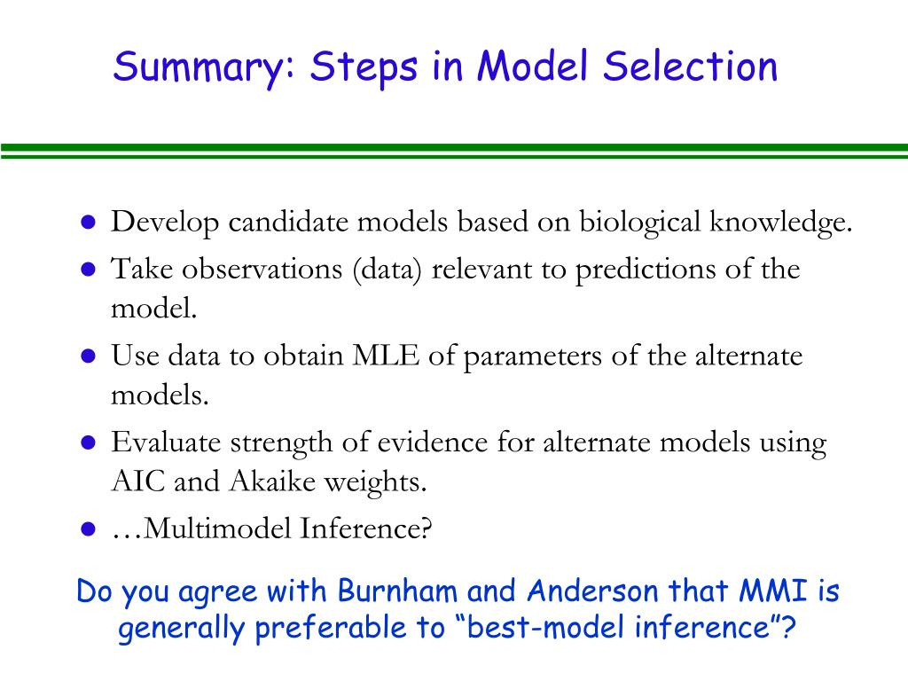 Summary: Steps in Model Selection
