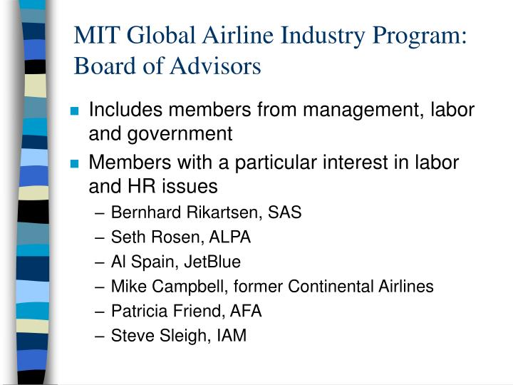 MIT Global Airline Industry Program: Board of Advisors