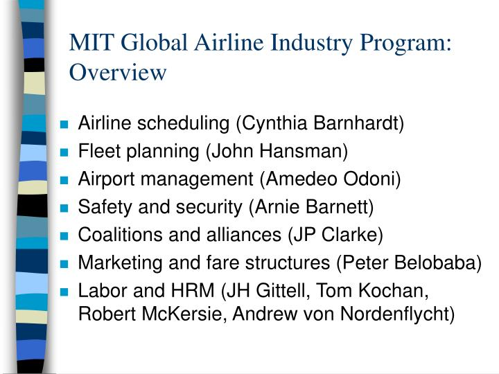 MIT Global Airline Industry Program: Overview