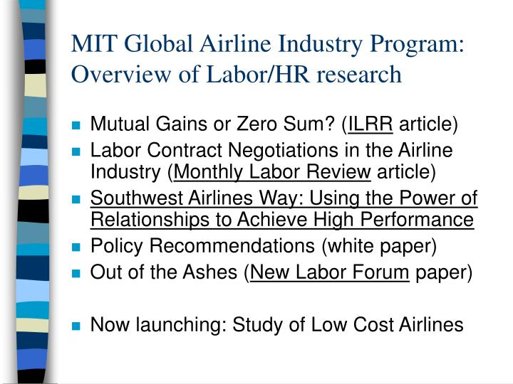 MIT Global Airline Industry Program: Overview of Labor/HR research