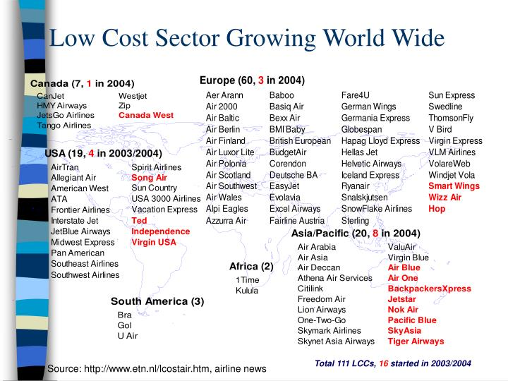 Low Cost Sector Growing World Wide