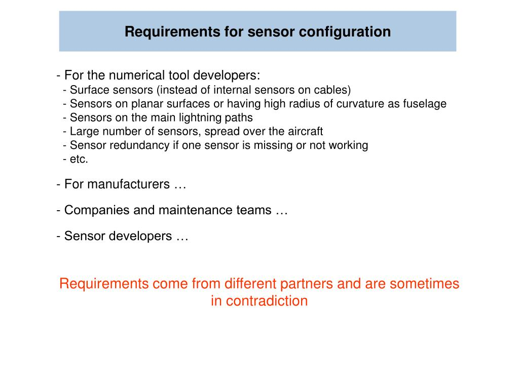Requirements for sensor configuration