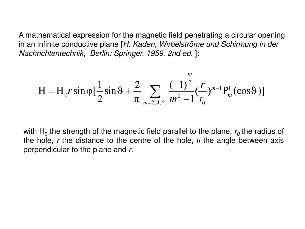 A mathematical expression for the magnetic field penetrating a circular opening in an infinite conductive plane [