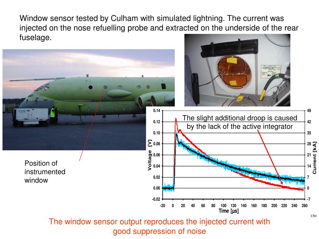 Window sensor tested by Culham with simulated lightning. The current was injected on the nose refuelling probe and extracted on the underside of the rear fuselage.