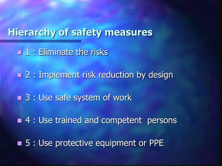 Hierarchy of safety measures