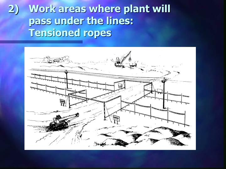 Work areas where plant will pass under the lines: