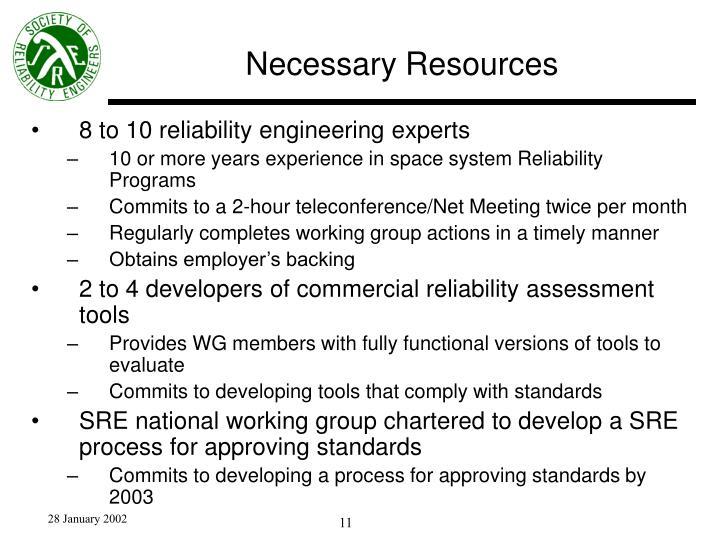 Necessary Resources