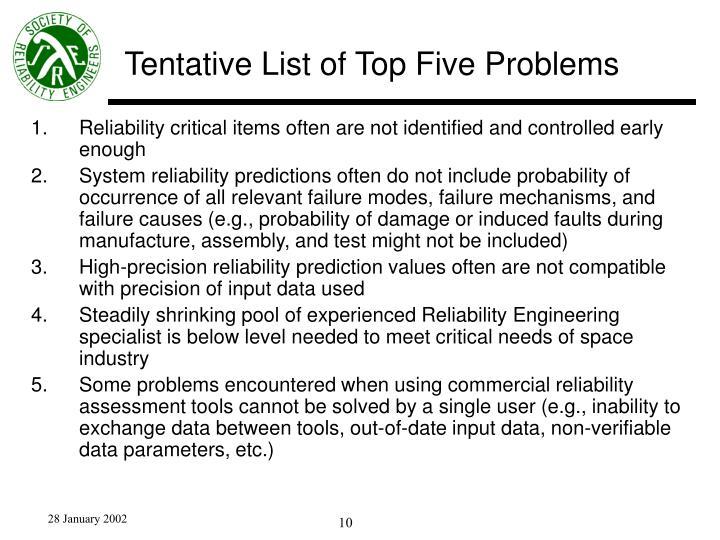 Tentative List of Top Five Problems