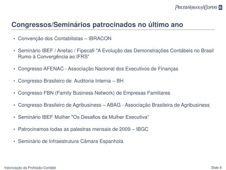 Congressos/Seminários patrocinados no último ano