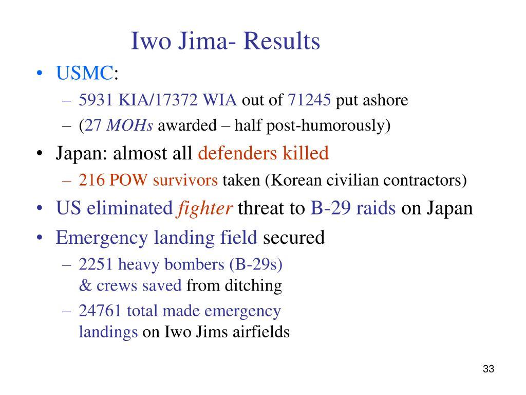 Iwo Jima- Results