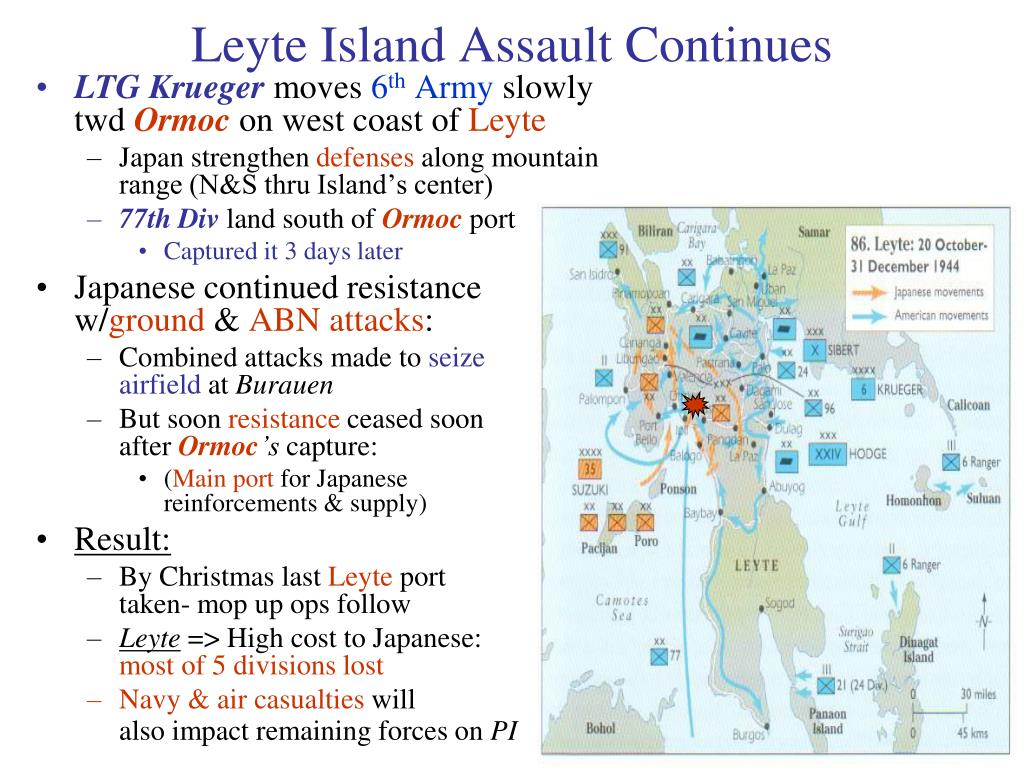 Leyte Island Assault Continues