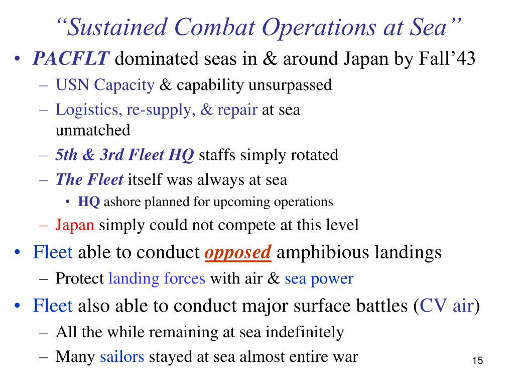 """Sustained Combat Operations at Sea"""
