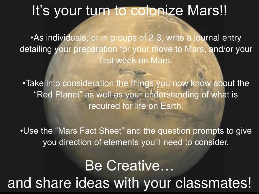 It's your turn to colonize Mars!!