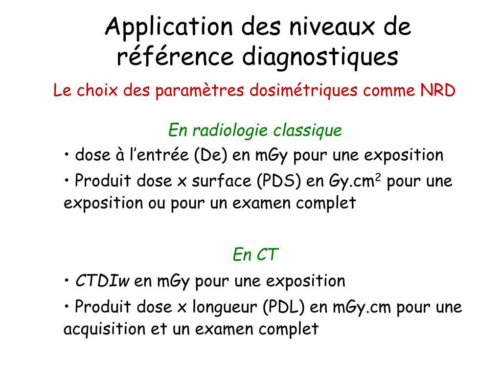 Application des niveaux de référence diagnostiques