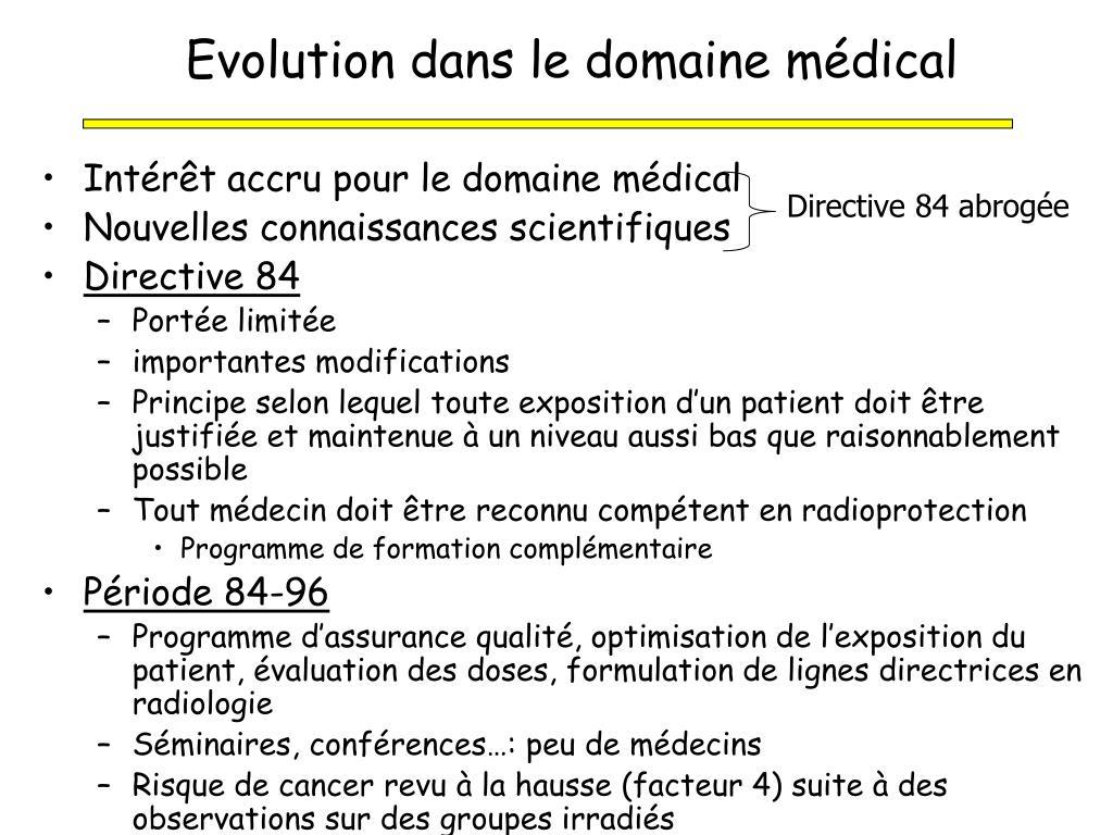 Evolution dans le domaine médical