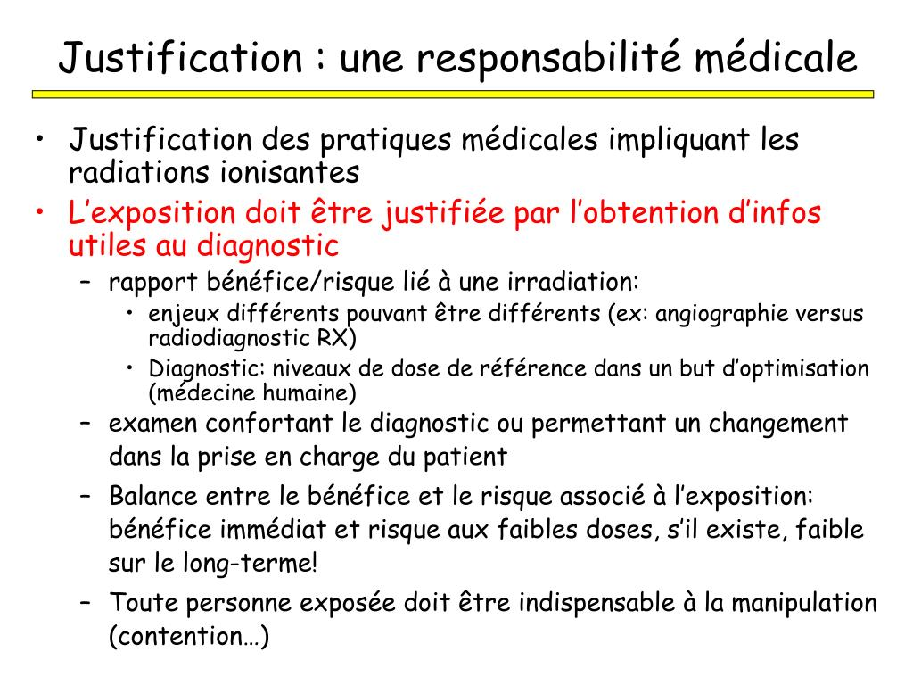 Justification : une responsabilité médicale