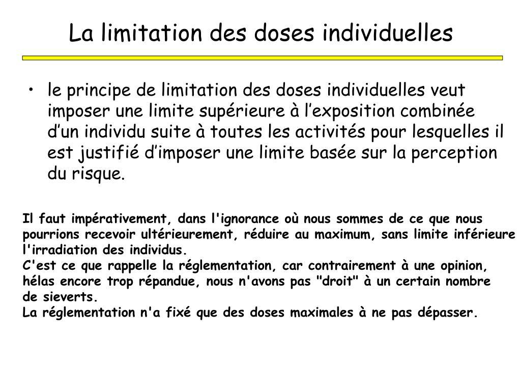 La limitation des doses individuelles