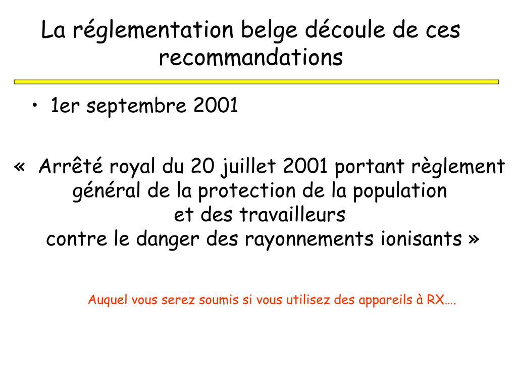 La réglementation belge découle de ces recommandations