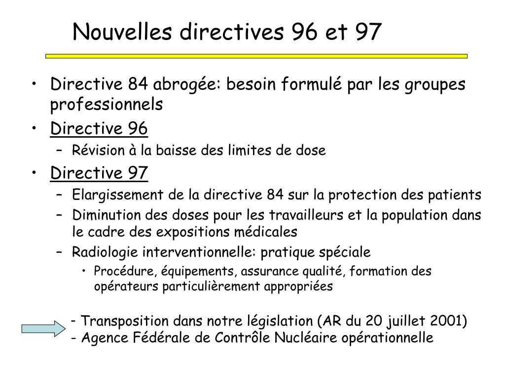 Nouvelles directives 96 et 97