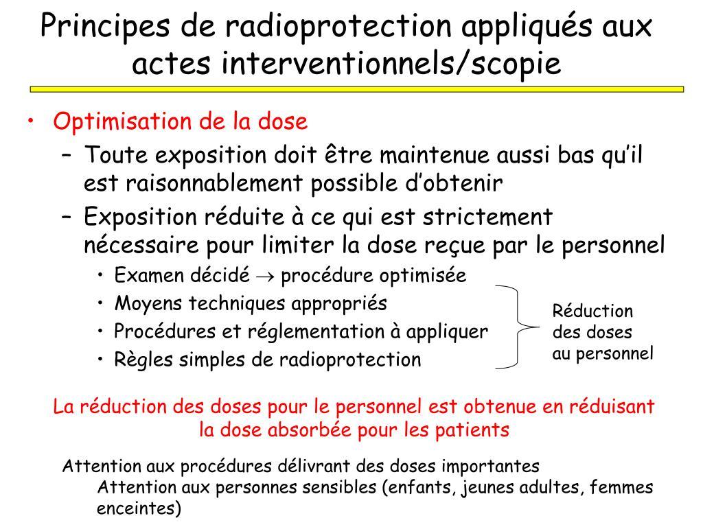 Principes de radioprotection appliqués aux actes interventionnels/scopie