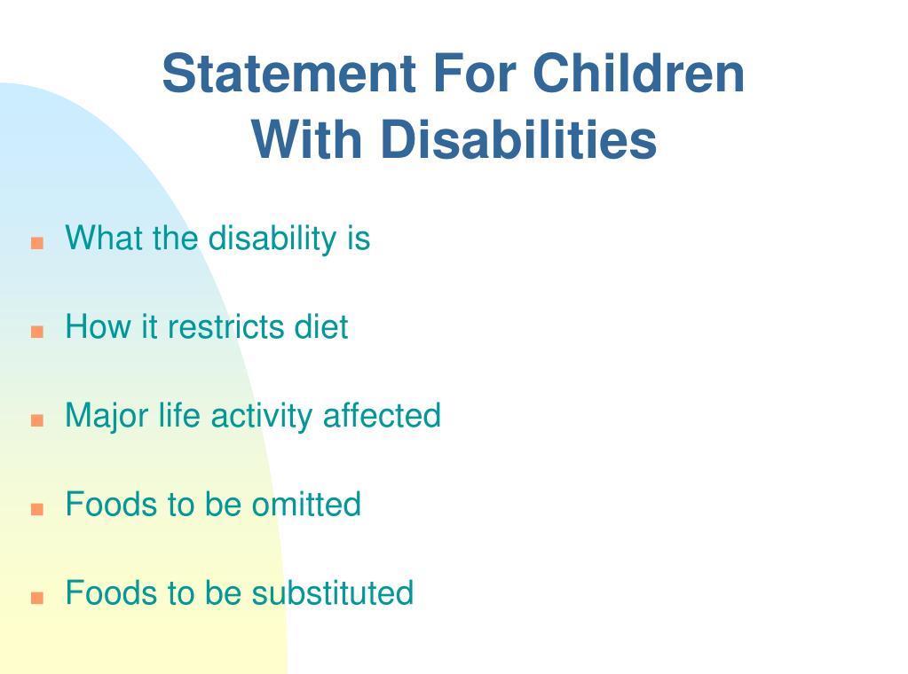 Statement For Children