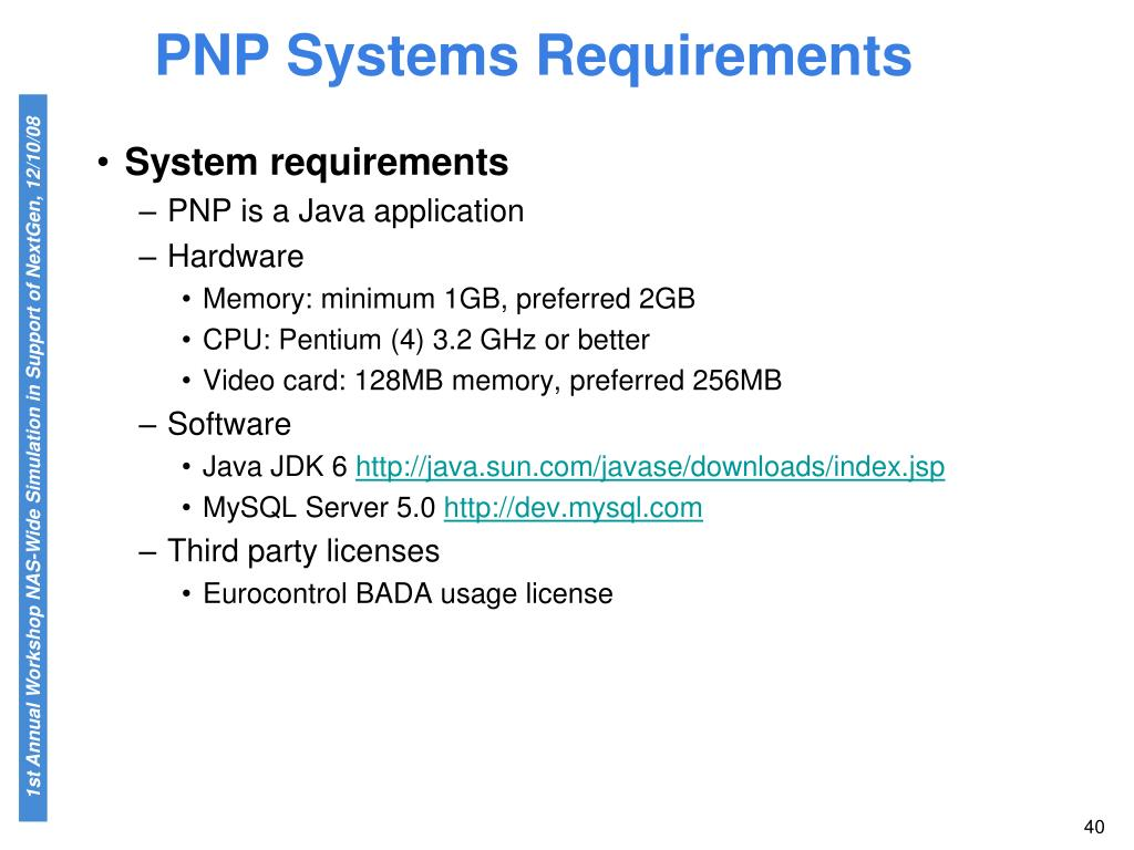 PNP Systems Requirements