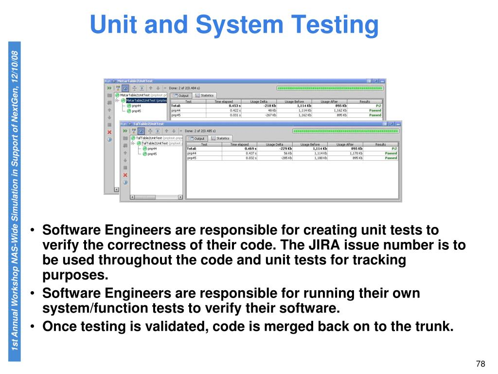 Unit and System Testing