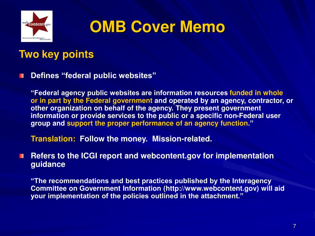OMB Cover Memo