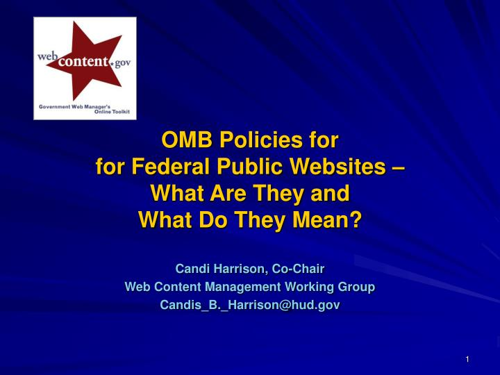 Omb policies for for federal public websites what are they and what do they mean l.jpg