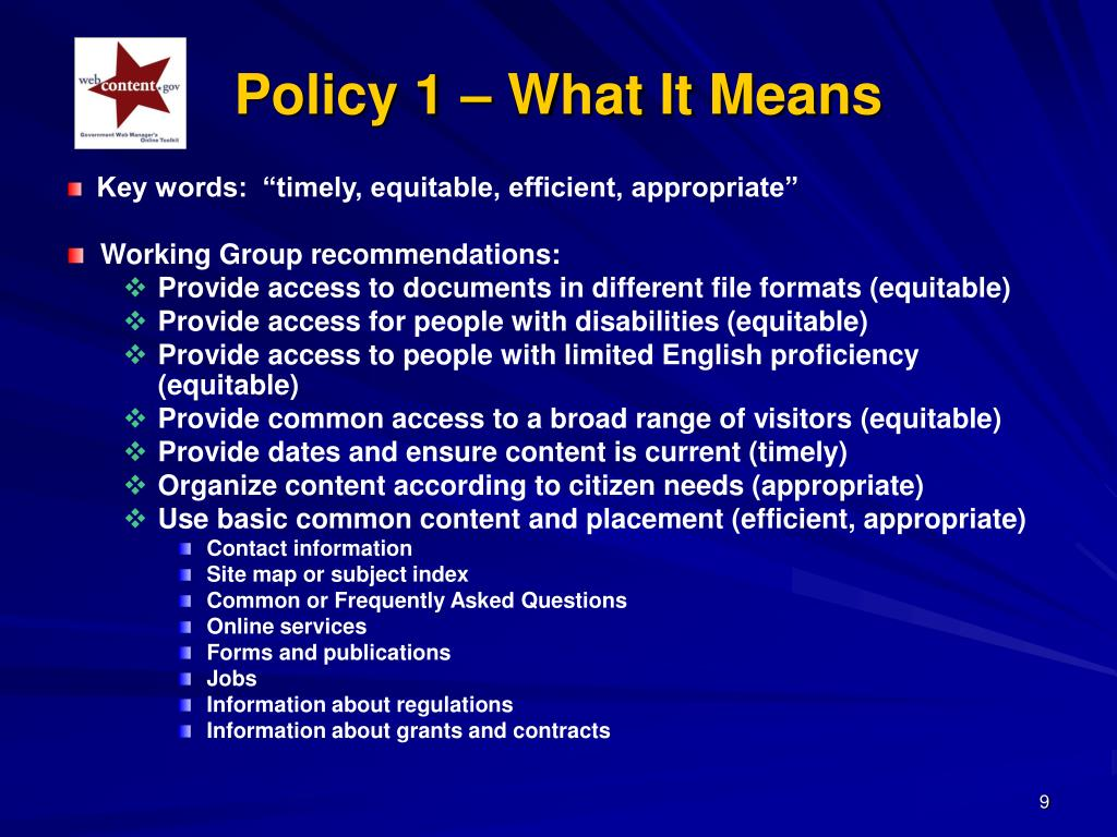 "Key words:  ""timely, equitable, efficient, appropriate"""