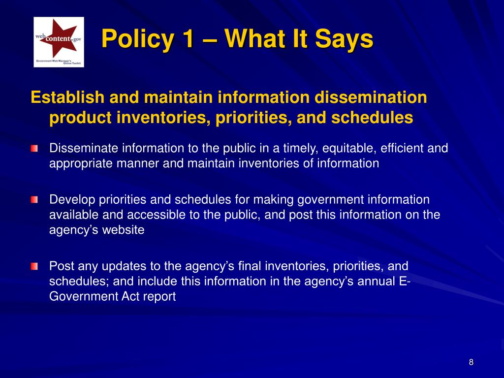 Policy 1 – What It Says