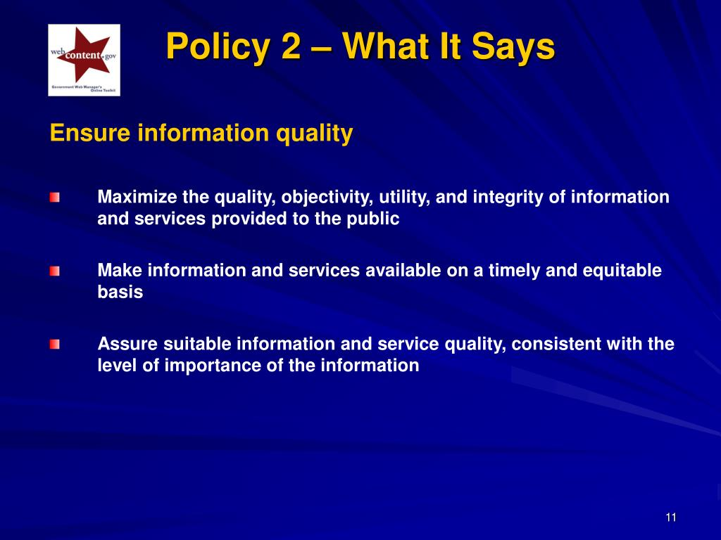 Policy 2 – What It Says