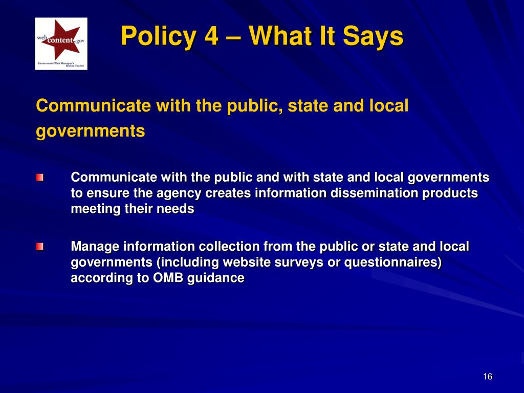 Policy 4 – What It Says