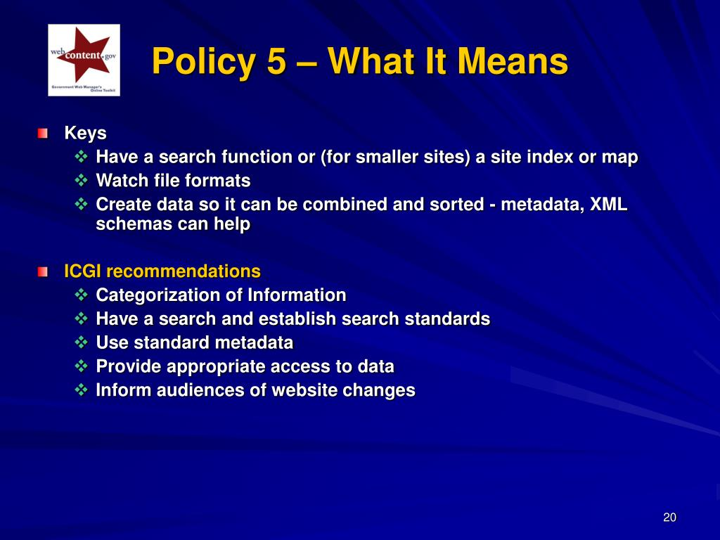 Policy 5 – What It Means