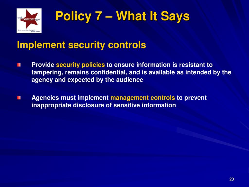 Implement security controls