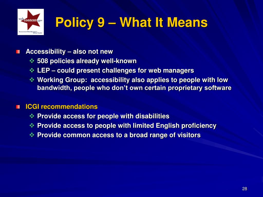 Policy 9 – What It Means
