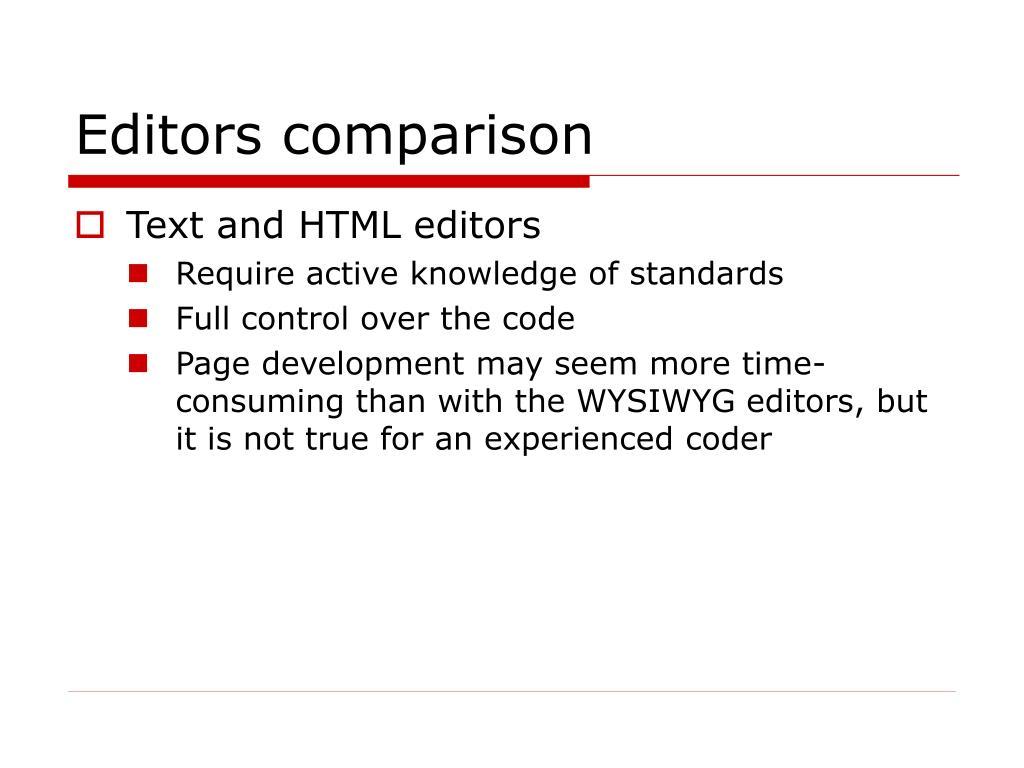 Editors comparison